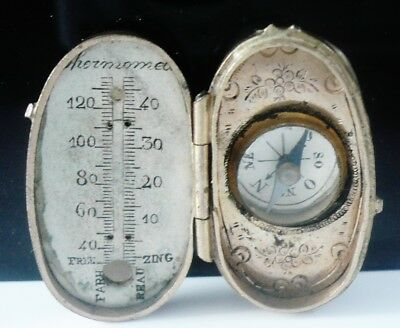 Unusual Antique Compass & Thermometer in Mother of Pearl Case c.1900