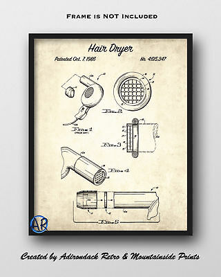 Hair Dryer Patent Art Print 2  -  Bathroom Wall Decor