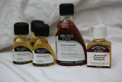 Winsor and Newton Refined Linseed Oil,Liquin,and Artists Painting Medium bundle.