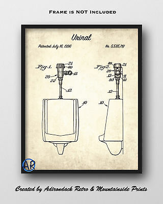 Urinal Patent Art Print  -  Vintage Bathroom Wall Decor