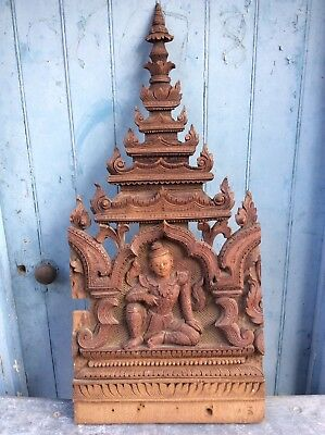 Antique Carved Wooden Asian Buddha Panel