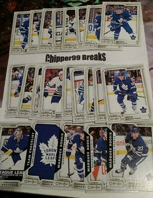 Toronto Maple Leafs 2018-2019 18/19 O-Pee-Chee OPC 22 Card Team Set with 5 SP'S!
