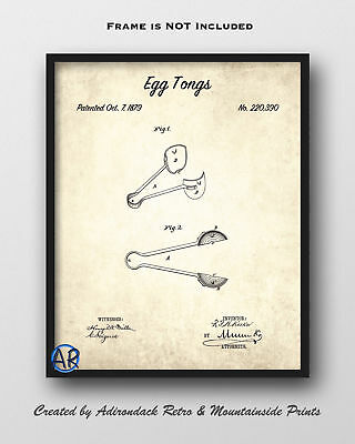Egg Tongs Patent Art Print  -  Vintage Patent Drawing