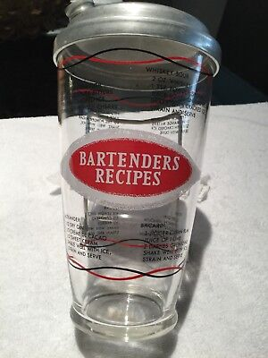 Vintage Bartenders Recipes Professional Cocktails Mixer Shaker Glass With Lid