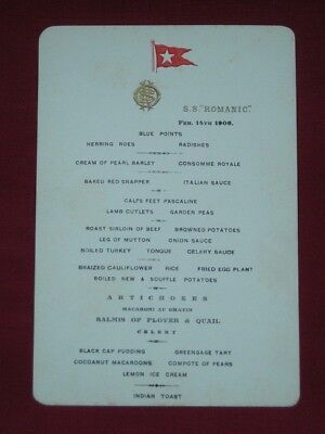 Original White Star Line Menu For The S S Romanic 1906.