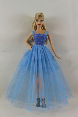 Blue Fashion Royalty Princess Dress/Clothes/Gown For Barbie Doll