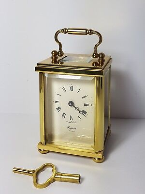"lovely antique RAPPORT LONDON brass carriage clock gwo c1950 5 1/2"" tall w key"
