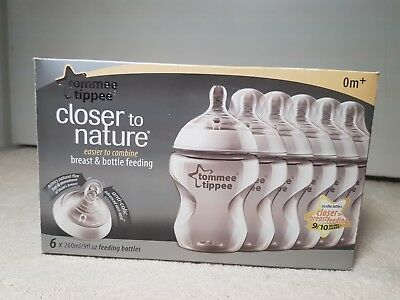 6 x Tommee Tippee Closer To Nature Clear 260ml Baby Feeding Bottles Pack 0m+ New