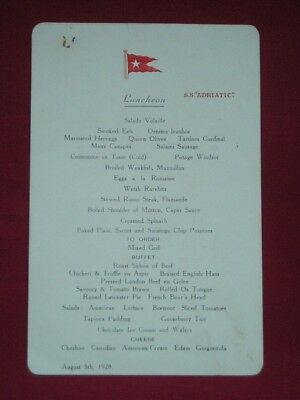 Original White Star Line Menu Card & Postcard For S S Adriatic 1928.