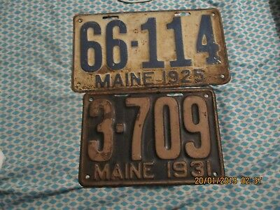 2 Vintage Maine license plates 1925 and 1931