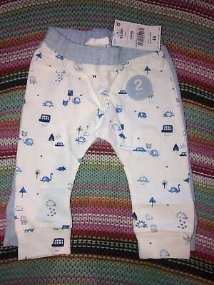 NEXT Baby Boys BNWT 6-9m 6-9 Months Leggings Bottoms Animals Cars Clouds 2 Pack