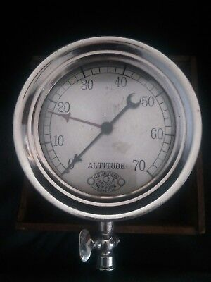 rare 5 in U.S. Gauge Co. Altitude gauge nickel finish with wood box