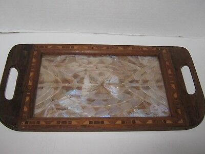Vtg Iridescent Butterfly, Inlaid Wooden Serving Tray