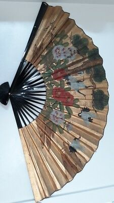 "ASIAN FAN LARGE VINTAGE WALL DECOR ART HAND PAINTED GOLD LEAF XL 68""x40"""