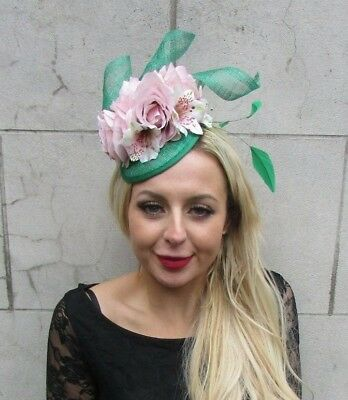 Emerald Green Blush Light Pink Rose Flower Feather Hat Fascinator Hair 6837