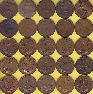 Great Britain  1/2 Penny  1900 - 65   lot of 25, different dates .........43