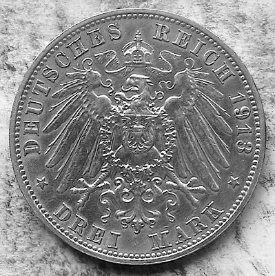 German States / Saxony 1913 E 3 Marks - Silver (16.6 g, 33 mm) KM#1275.  Commem