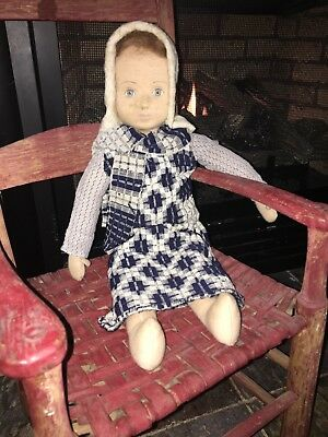 19 In Doll Early Coverlet Bonnet Calico Blouse Blue Coverlet Dress Old Textile36
