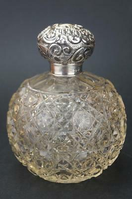 VERY LARGE Antique 1906 HM SOLID SILVER Repousse Lid PERFUME/SCENT BOTTLE vgc