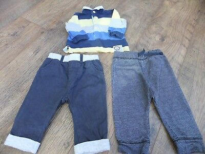 baby boys outfit striped rugby top trousers and joggers 0-3 / 3-6 months