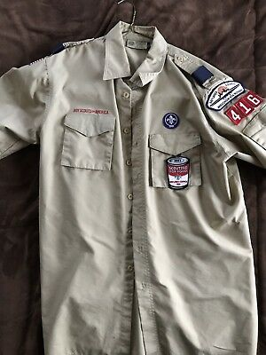 Official BSA Boy Scout tan Uniform Shirt Short sleeve adult Large(used)
