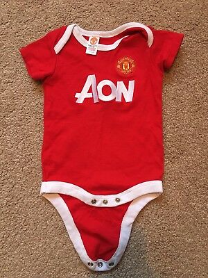 Manchester United Baby Vest Aon Sponsor Official 6-9 Months Collect Red