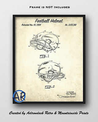 1964 Football Helmet Patent Art Print 2  -  Retro Football Patent Poster