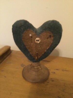 Primitive Valentine Heart Pintuck On A Glass Holder