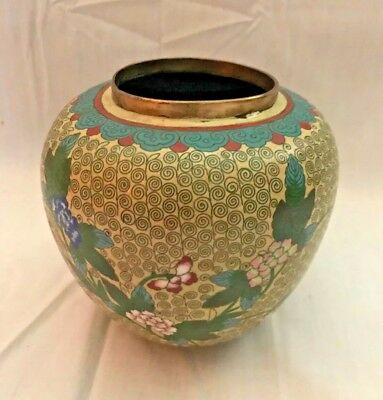 Vintage ANTIQUE CHINESE ASIAN CLOISONNÉ Vase METAL ART FLORAL Peony