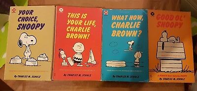 SNOOPY PAPERBACKS by CHARLES M. SCHULZ x 4, by CORONET BOOKS, 1970's, 80's