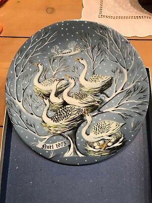 Haviland Limoges12 Days of Christmas Plate, #6, Six Geese A'Laying, w/ box