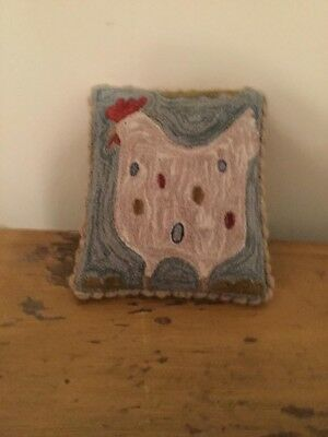 Primitive Handmade Punch Needle Pillow Easter Chicken - Finished By Jenn Mayo