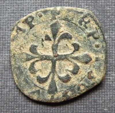 Medieval Crusader Cross Coin Antique 1250-1350AD Europe Templar Fire Fox Crown