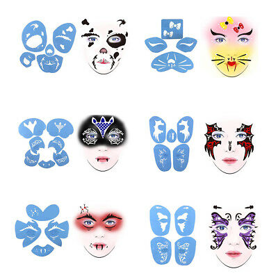 6 Sets Men Women Stage Party Face Body Painting Make Up Stencil Template