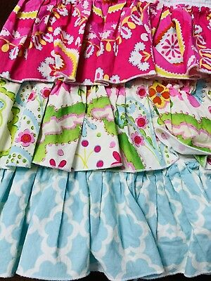 Gorgeous Crib Dust Ruffle Hot Pink, Teal, Green 3 Layers Of Ruffles!