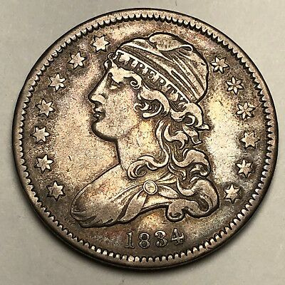 1834 Capped Bust Quarter Dollar 25c Coin - VF/XF!