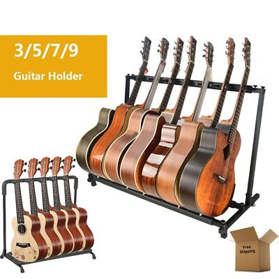 Black Multi-Guitar Rack Stand Folding Padded Electric Acoustic Bass Holder Wall