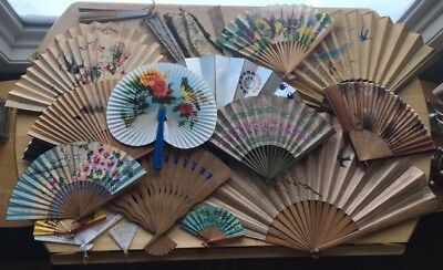Beautiful Antique Vintage Collection Fans Silk Paper Sandalwood Asian LOT of 21!