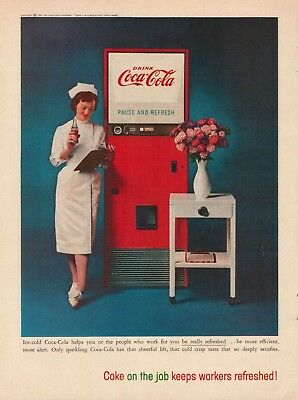 1959 Coke Coca Cola Nurse Vending Machine Vintage Color Photo Print Ad