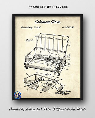 1926 Coleman Stove Patent Art Print  -  Camp Grill Patent Poster