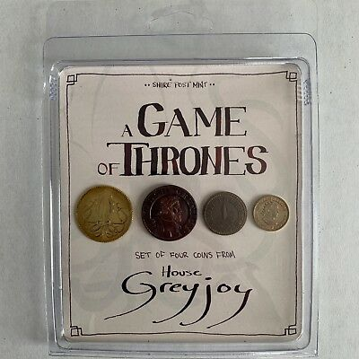 House Greyjoy Set of Four Coins - Game of Thrones - Shire Post Mint - New In Box