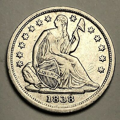1838 Seated Liberty Half Dime 5c Coin - Amazing Details, Small Stars - AU++