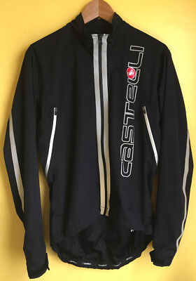 Castelli Cycling Jersey Mens Size Small Black Long Sleeve Full Zip w   Reflective 9a2239659