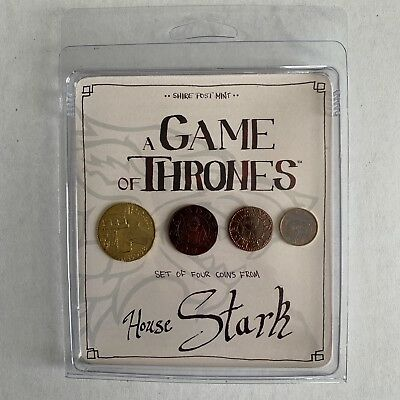 Game of Thrones Set of 4 Collector Coins House Stark  Shire Post Mint - NEW!