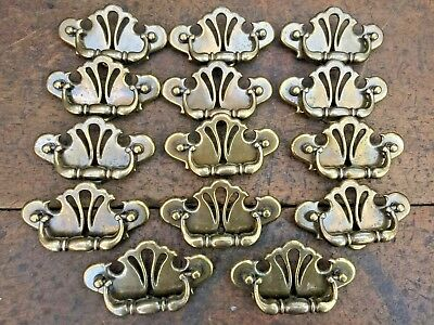 """14 Colonial Style Brass Chippendale Drop Handle Drawer Pulls 2 1/2"""" O.c. Ornate"""