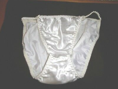VTG DELICATES STRING BIKINI PANTY WHITE SHINEY HI LEG Sz 8