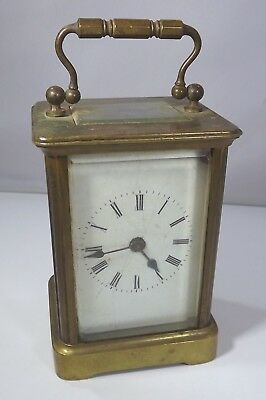 Antique Brass & Glass Cased Carriage Clock in Good Working Order with Key