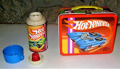 1969 Vintage HOT WHEELS Metal Lunch Box With Thermos -- NEAR MINT