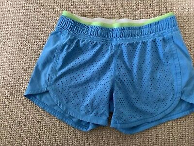 Girl's Ivivva Laser Cut Active Shorts Sz 12 Powder Blue Lululemon