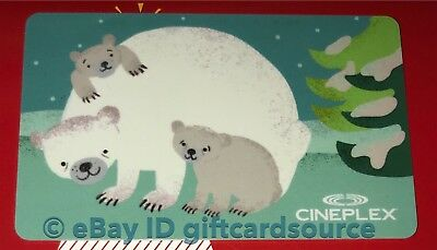"Cineplex Theaters Gift Card ""bear And Cubs"" Holiday 2018 Winter No Value New"